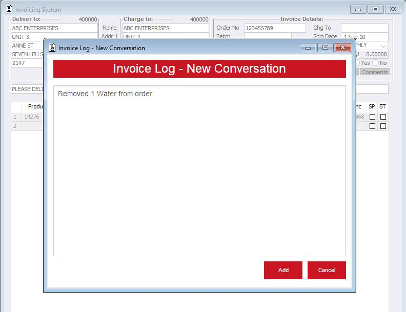 invoicing system invoice log acr business systems